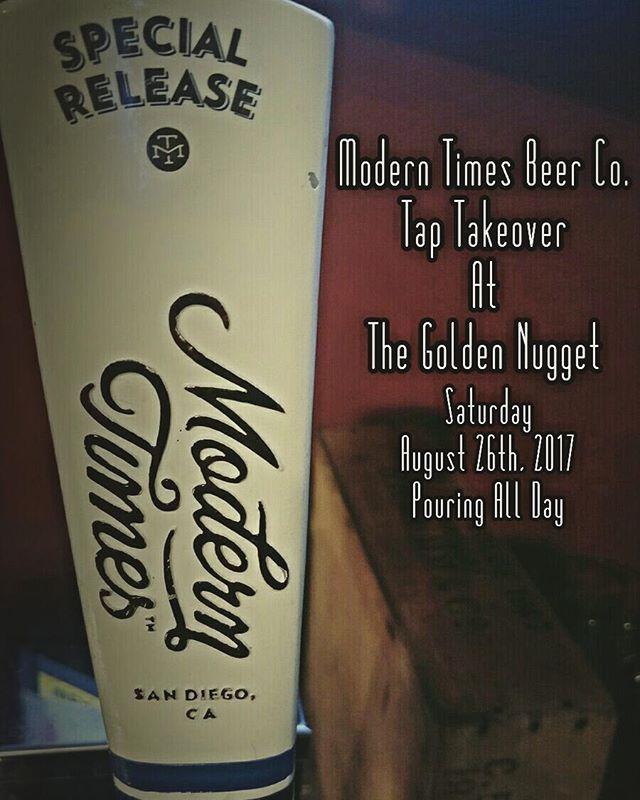Stay tuned for more information!  #moderntimes #moderntimesbeer #sandiegobeer #craftnotcrap #craftbeerstagram #craftbeer #craftbeernotcrapbeer #craftbrew #beer #beerstagram #beerporn #beergeek #simivalley #venturacounty #ventura #thenugget #goldennugget #california #sandiego #sandiegoconnection #sdlocals #sandiegolocals - posted by Golden Nugget Pub https://www.instagram.com/goldennuggetpub. See more San Diego Beer at http://sdconnection.com