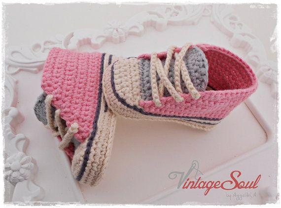 Crochet scarpe da ginnastica bambino di Vintagesouletsyshop