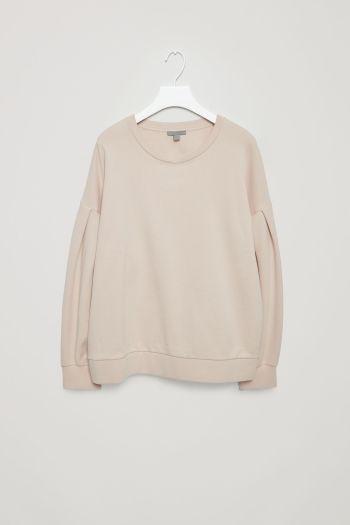 COS image 2 of Sweatshirt with sleeve pleats in Light Beige