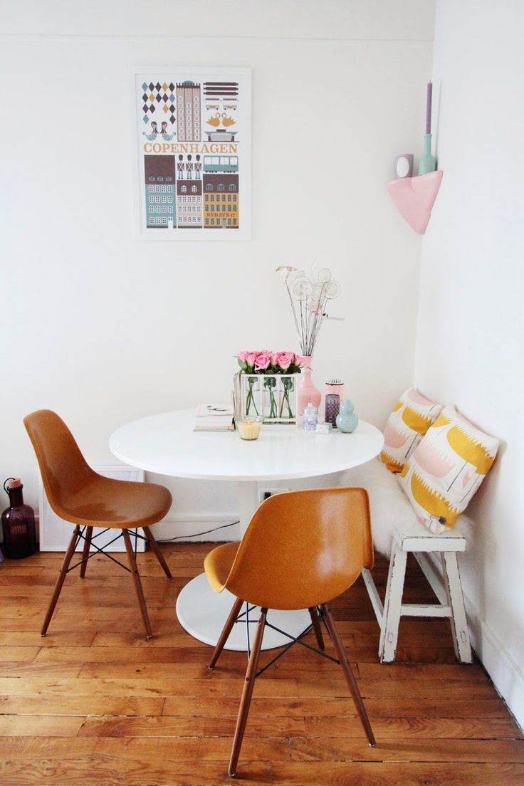 40 Best Dark Table  Light Chairs Images On Pinterest  Dining Endearing Small Dining Room Table With Bench Decorating Design
