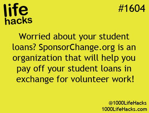 1000 Life Hacks: How about help paying off college loans in exchange for volunteer work...interesting idea to remember for Danny and his student loans! We already volunteer for a non profit too