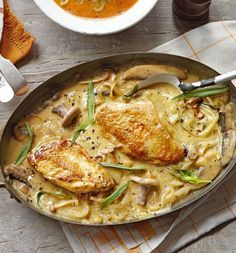 The inclusion of mustard in this simple chicken recipe gives depth to the creamy sauce – great for midweek or an easy dinner party. Serve with rice and a green salad.