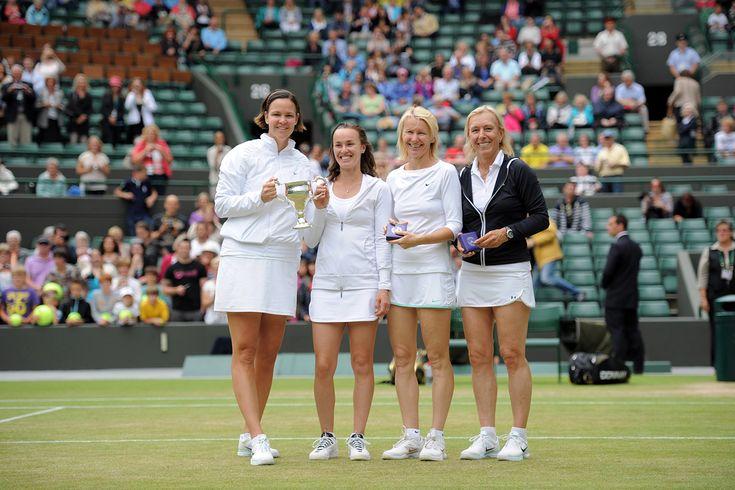 Wimbledon: The Champions 2012  Lindsay Davenport and Martina Hingis pose with Martina Navratilova and Jana Novotna after the veteran's doubles championship. - Jon Buckle/AELTC