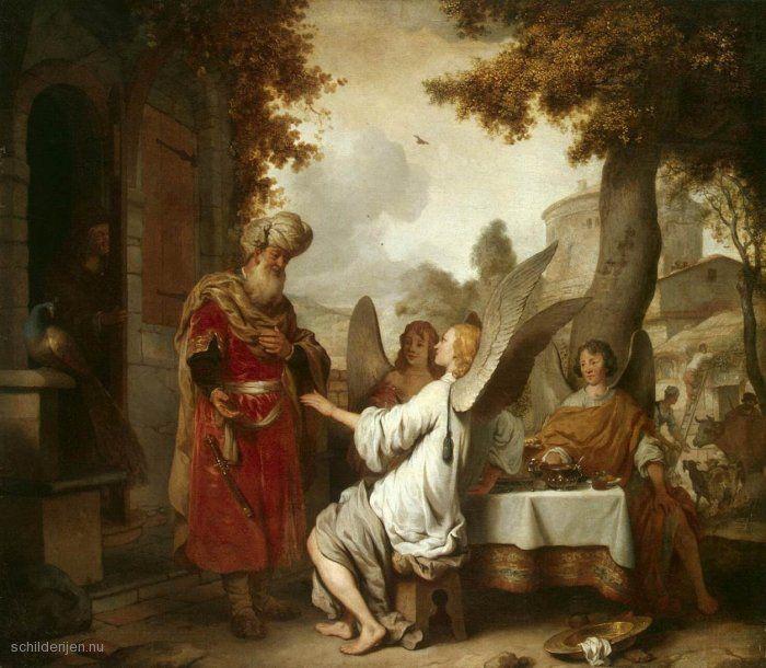"""Painting """"Abraham en de drie engelen"""" by Gerbrand van den Eeckhout - www.schilderijen.nu:"""