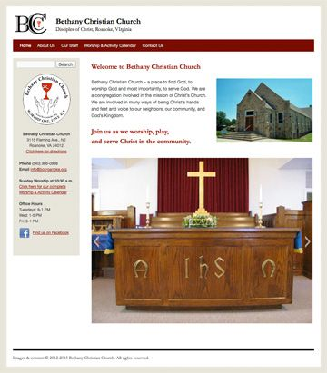 Bethany Christian Church, Roanoke, VA at http://bccroanoke.org. WordPress site with customized theme.