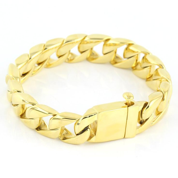 Simple Elegant 316L Stainless Steel Chain Bracelets Gold And Gold Men's Bracelets stainless steel bangle bracelets