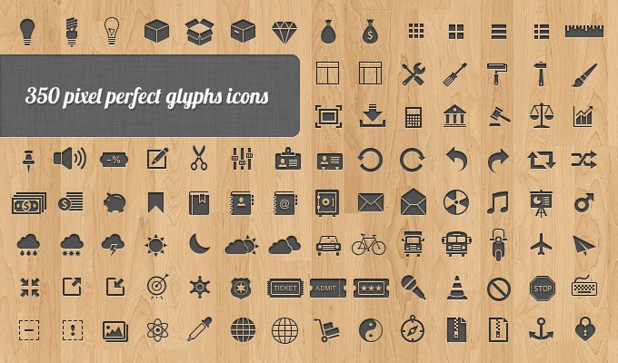 350 Free Vector Web Icons - pixel  perfect glyphs icons.