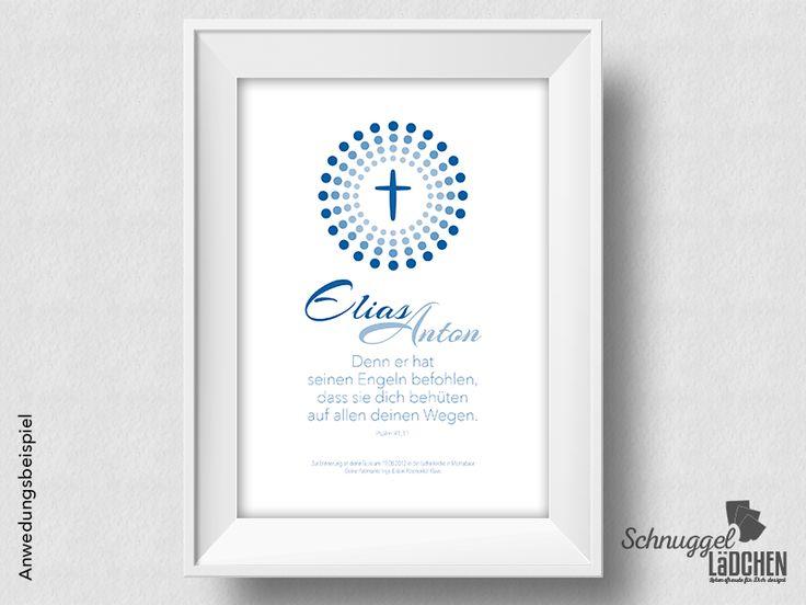 Taufbild+Taufspruch+personalisiert+–+Kreuz+blau+von+Schnuggellaedchen+auf+DaWanda.com