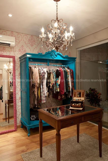 Beautiful turquoise wardrobe. Wallpaper. Mirror. So in love with this!