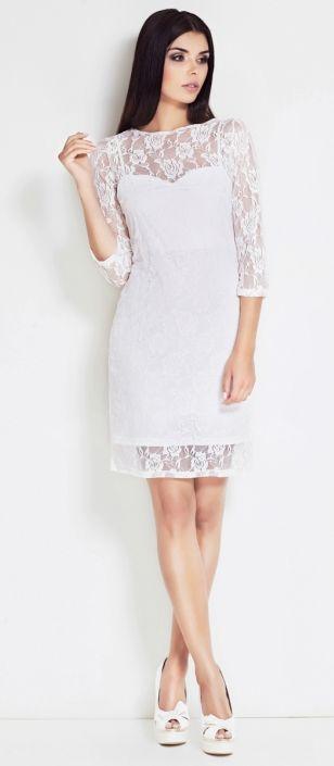Sukienka koronkowa w kolorze ecru, idealna na imprezy.