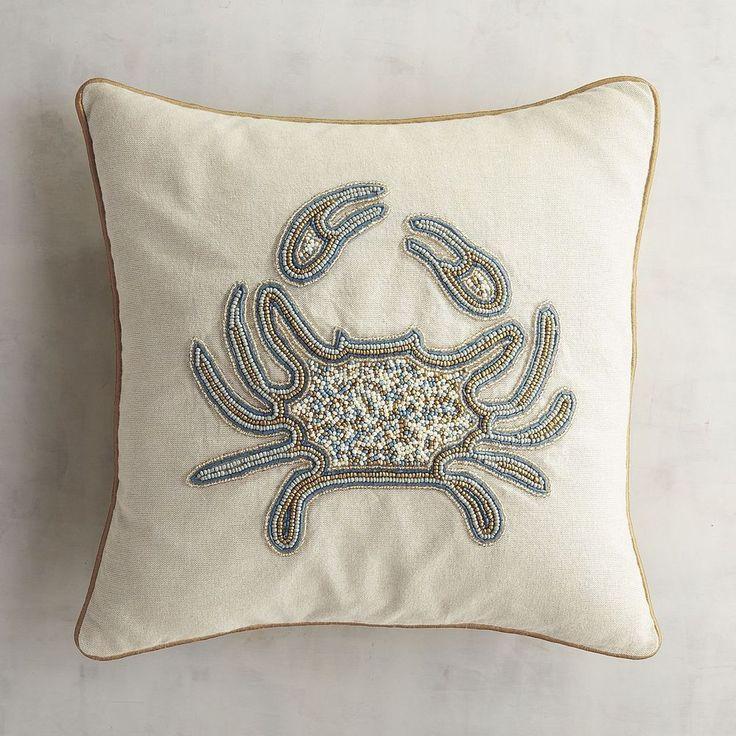 Pier 1 Beaded Pillow Crab Gold Blue