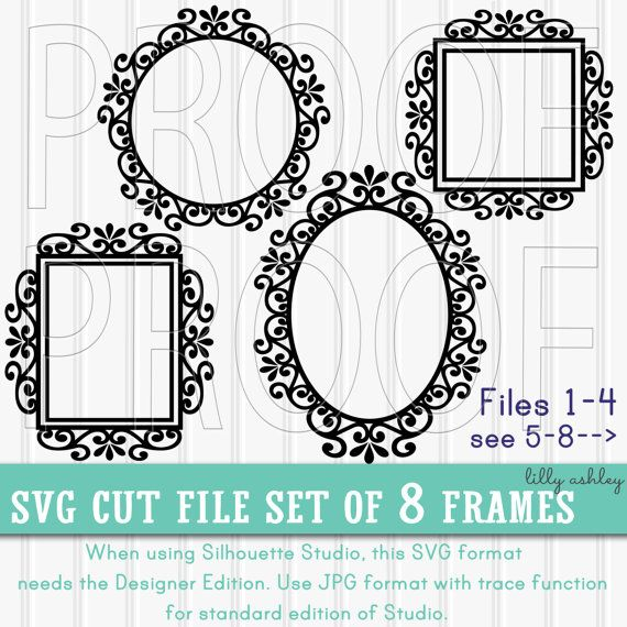 SVG Files Set of 8 cut files {SVG/PNG/jpg format} Commercial use ok Frame svg border svg flourish svg circle rectangle oval square monogram