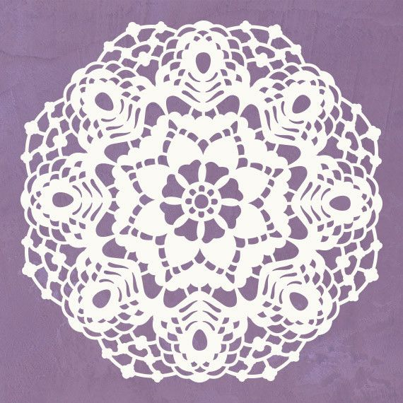 Romantic and Delicate Designs for Decoraing - Lace Doily Pattern Wall Stencils for Painting Wall Art - Royal Design Studio