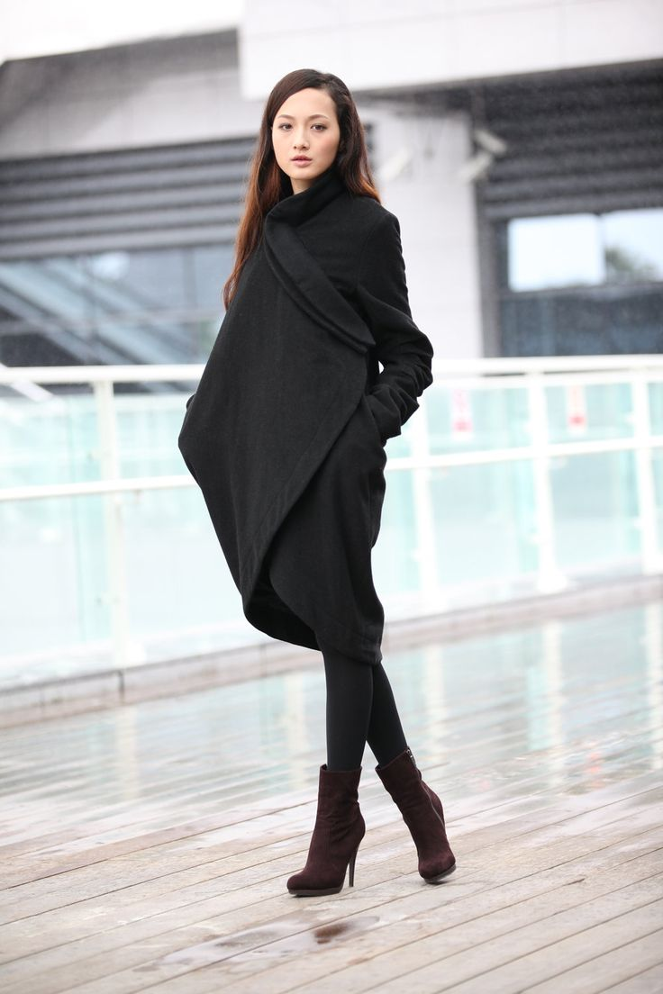 Black Bud Cashmere Coat Long Woolen Winter Coat Long Sleeves Wool Jacket Woman outwear - NC197. $169.99, via Etsy.