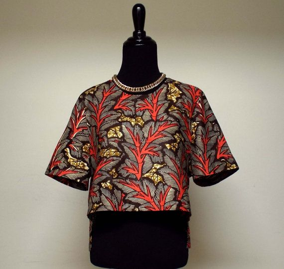 Allure African Print Ankara Crop Top by DIYANU on Etsy, $29.99 :: hi-low front to back!