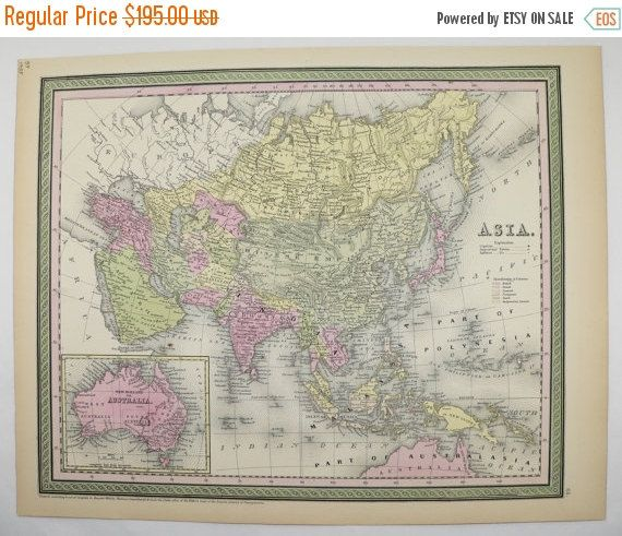 1800s Asia, Map of Middle East, China Map India Malaysia 1855 Mitchell Map, Asian Decor Gift, Antique Map, Unique Office Gift for Coworker available from OldMapsandPrints.Etsy.com #Asia #MiddleEast #Fareast #MitchellAsiaMap