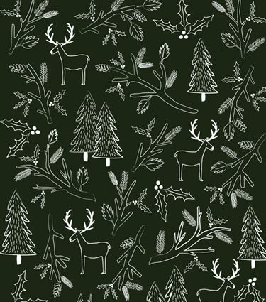 """Screen Printed Pine Wrapping Sheets. Limited edition screen printed wrapping sheets sold as a set of 3 18""""x24"""" sheets. The illustrated woodland and holly pattern is printed with white ink on pine green paper. $15.00"""