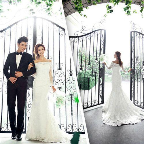【楽天市場】ウェディングドレス 長袖 マーメイド ロングトレーン オフショルダー ウエディング ブライダル 結婚式 花嫁 衣装 ジップアップ 大きいサイズ 白 プリンセスライン ロングドレス ボリューム レース:YBワールド