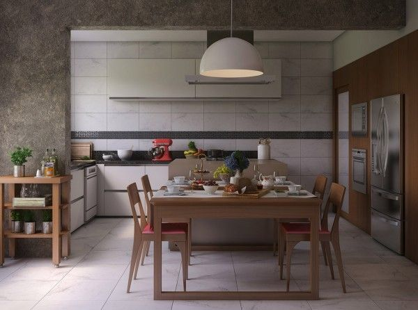 Nestled into a white open kitchen, this dining room from visualizer Felipe Broering is particularly well suited to a boisterous family meal.