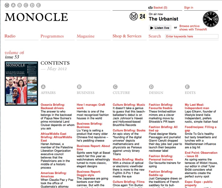 Monocle Magazine (and online) articles about leadership www.monocle.com/...