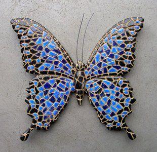 wanddecoratie 15 cm vlinder mozaiek 09683