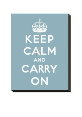 Art.com Blue Keep Calm and Carry on Stretched Canvas Print  Online Only