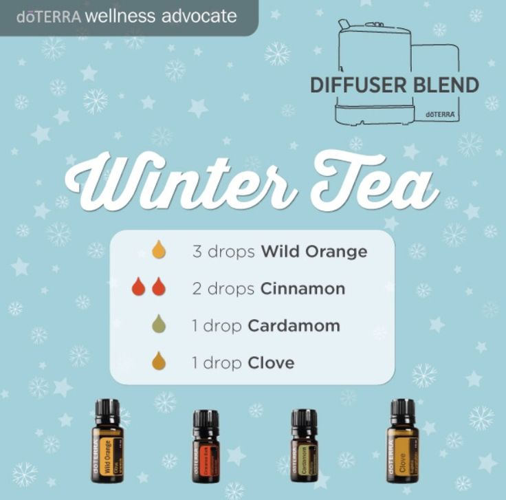 Winter Tea Essential Oil Diffuser Blend. Wild Orange, Cinnamon, Cardamon, Clove. Smells amazing and supports immune systems, too.