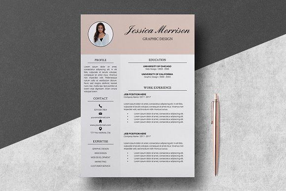 Resume Template 4 pages / Jessica by LucaTheme on @Graphicsauthor