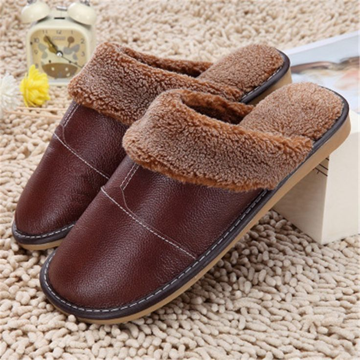 Women Floor Fur Vamp Fashion Leather Shoes Toe Warm Soft Lined 2018 Slippers