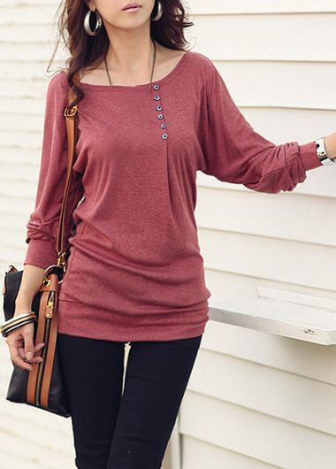 Round Neck Button Design Long Sleeve T Shirt on sale only US$23.97 now, buy cheap Round Neck Button Design Long Sleeve T Shirt at lulugal.com
