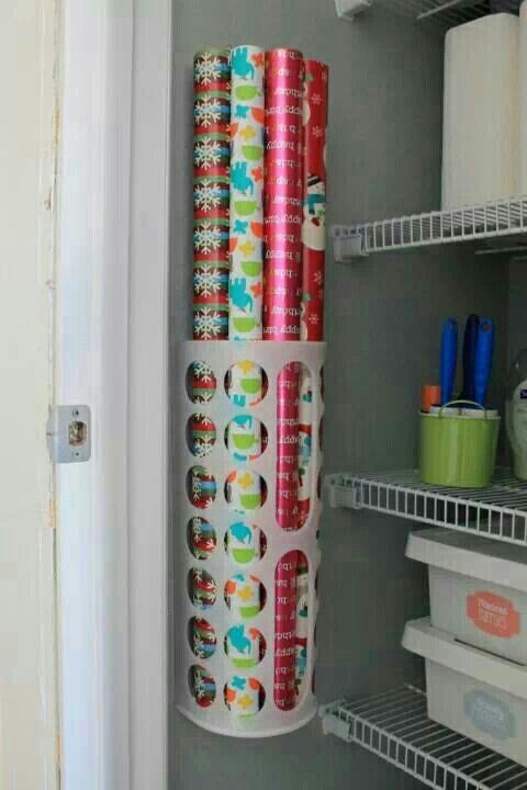 IKEA Hack: Use the brand's plastic bag holder to store wrapping paper