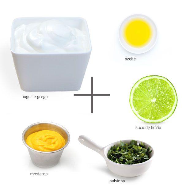 Molho light para salada: iogurte grego + azeite + mostarda + salsinha + suco de limão #dressing #light #salada - Adorei !!!!
