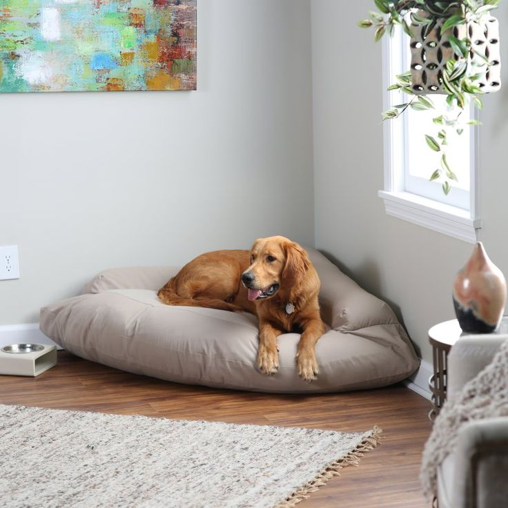 Hidden Valley Corner Bolster Dog Bed - Extra Large Khaki with Beige Fleece