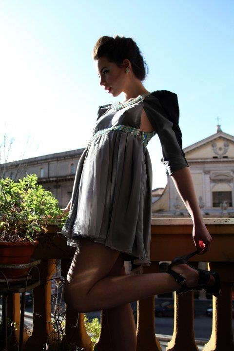 Dress in chiffon with details in mosaic. detachable sleeves in denim. Designer: Intidhar Saleh Photografer: Laura Nardelli Make up and hair: Manuela Mellio Model: Sara Walsh Fasano