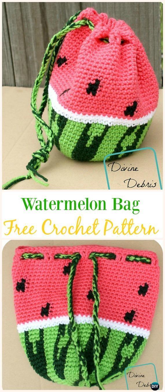 Crochet Drawstring Bags Free Patterns Diy Tutorials Häkeln