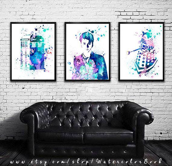 Buy 2 Get 1 FREE!!! Doctor Who, Tardis, Dalek 2 Watercolour Painting Print, watercolor painting, Doctor Who Tardis poster, Doctor art