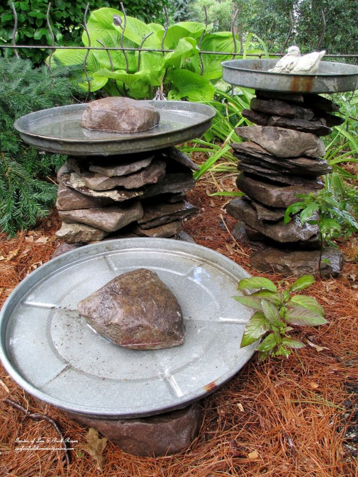 "Stone leftover from another project and three galvanized trash can lids become a bird bath grouping! Another of my ""use what you have"" ventures. More pictures a…"