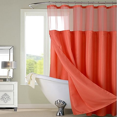 dainty home complete shower curtain | coral shower