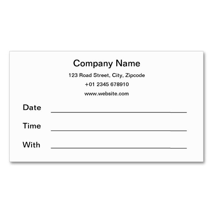 17 best images about appointment business card templates for Standard business card template