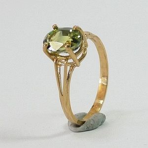 1.93 CTs. Top Earth Mined Green Sapphire in 10K Solid  Gold Ring Size:N-7             RI382