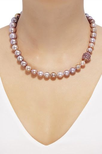 1d5219c5c516e6 Honora Genuine Pearl Necklace: 14K rose gold; graduating purple Ming cultured  pearls; rubies,18