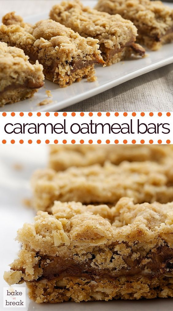 Caramel Oatmeal Bars combine rich caramel with a buttery oatmeal crust and crumb topping for an irresistible treat. ~ http://www.bakeorbreak.com