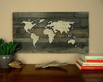 26x16 World Map String Art Reverse String Art by DistantRealms