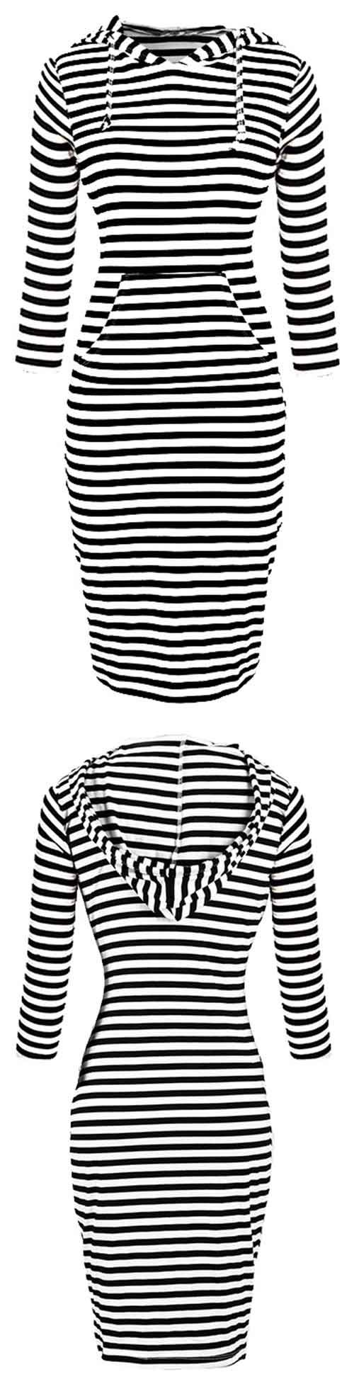 This striped piece featuring drawstring hooded design and stripe printing, dressed with pockets at front, will never go out of style!. Are you fast enough to get it?