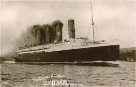 Cunard Line's magnificent Lusitania on her trials in 1907.