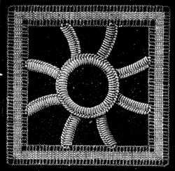 FIG. 763. WHEEL COMPOSED OF BUTTONHOLE BARS. BARS AND RING FINISHED.