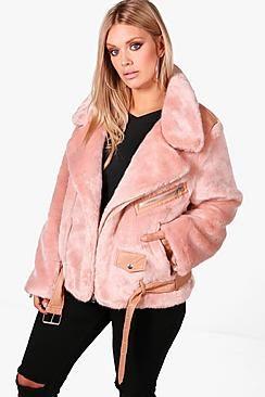 3ee974e82 Plus Size Fur and PU Trim Aviator Jacket | Plus Size Faux Fur ...