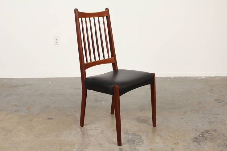 Set of 6 Teak and Leather Mid-Century Dining Chairs | From a unique collection of antique and modern dining room chairs at https://www.1stdibs.com/furniture/seating/dining-room-chairs/