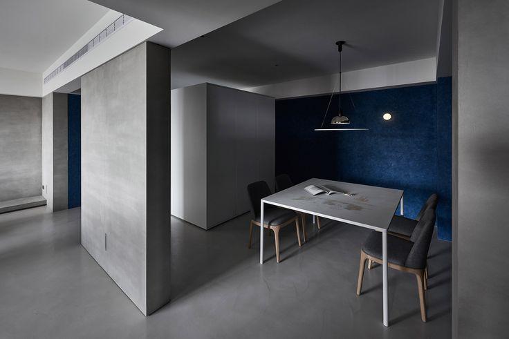 минимализм столовая; 2017 квартира в Тайбэй, Тайвань студия Wei Yi International Design Associates; серый цвет в интерьере