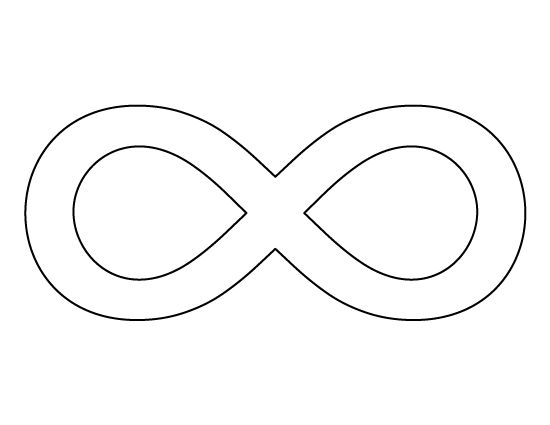 Infinity symbol pattern. Use the printable outline for crafts, creating stencils, scrapbooking, and more. Free PDF template to download and print at http://patternuniverse.com/download/infinity-symbol-pattern/